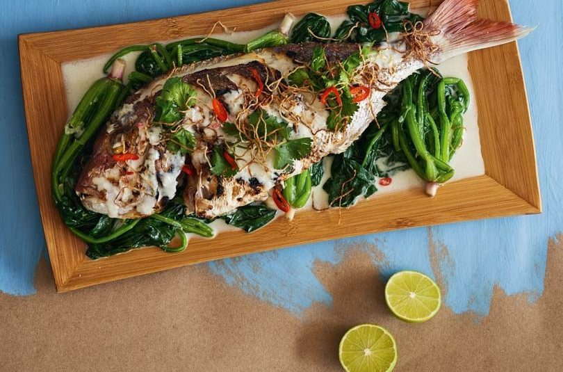 GRILLED FISH & SPINACH WITH COCONUT SAUCE