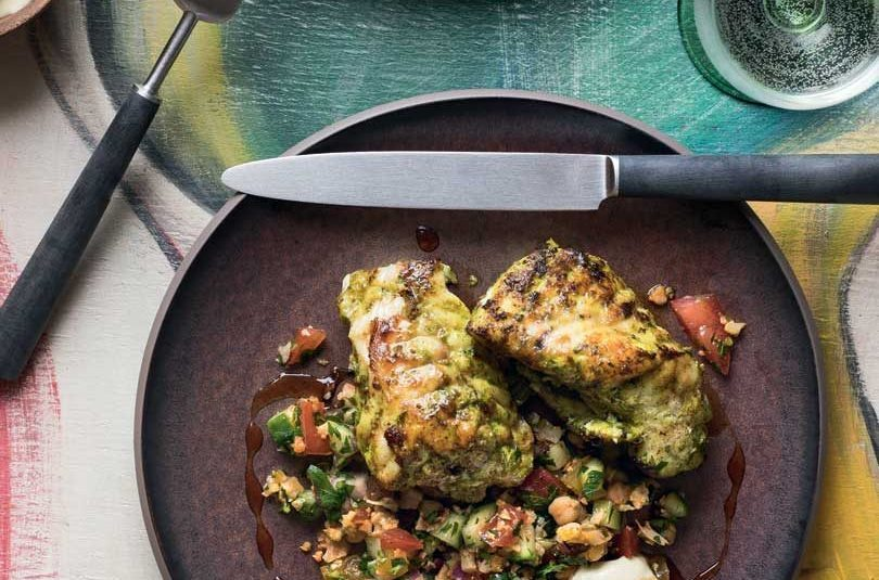 CHERMOULA-MARINATED FISH WITH CAULIFLOWER TABBOULEH & DATE SYRUP