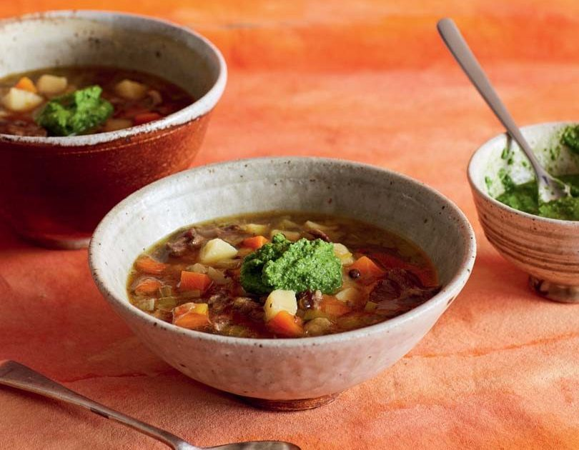 SPICED LENTIL & OXTAIL SOUP WITH GREEN HARISSA