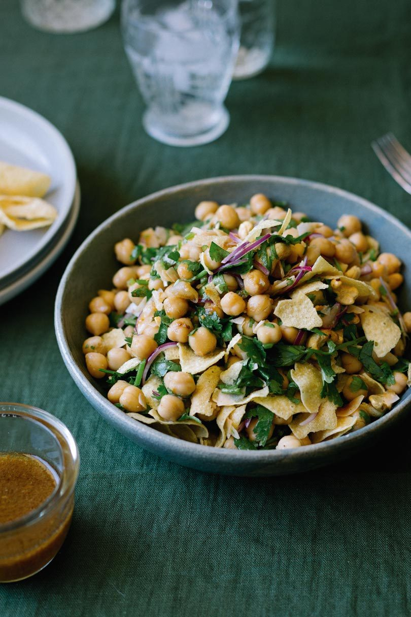 CHICKPEA, PAPAD & COCONUT SALAD WITH TAMARIND-LIME DRESSING