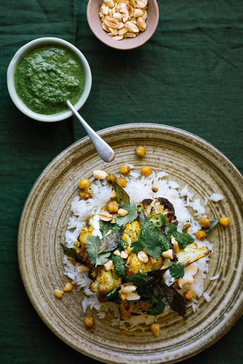 ROASTED CAULIFLOWER WITH BUTTERED RICE & CORIANDER SAUCE