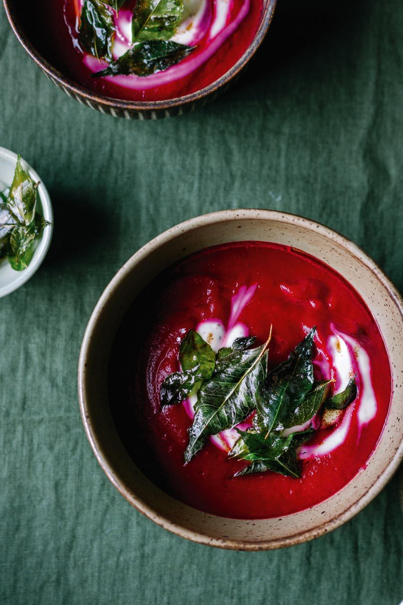SPICED BEETROOT SOUP WITH TOASTED CUMIN YOGHURT & BUTTER-FRIED CURRY LEAVES