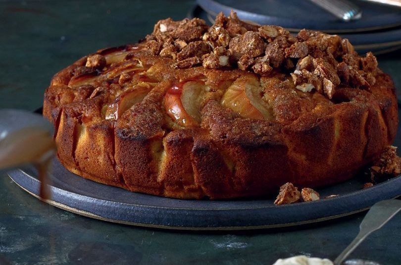 FRENCH APPLE CARDAMOM CAKE WITH SPICED CANDIED ALMONDS