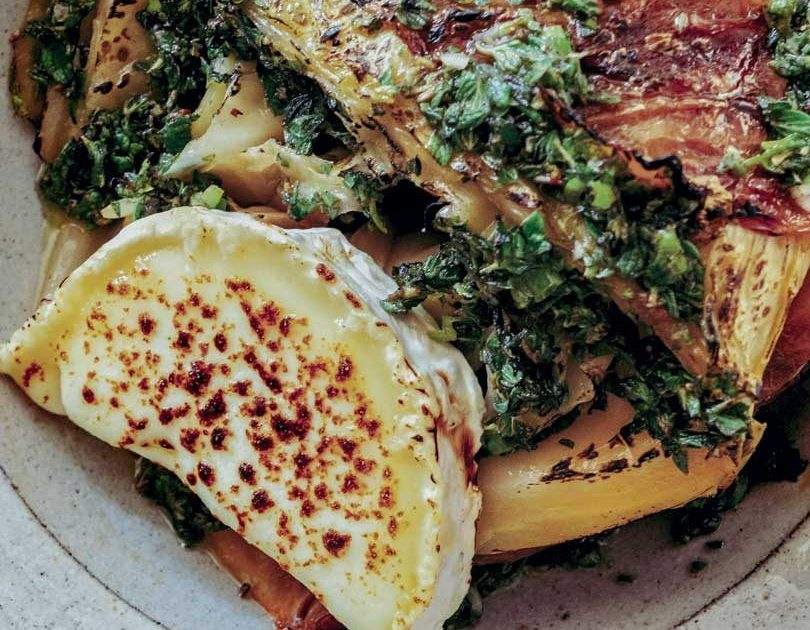 STEWED CABBAGE WITH GOAT'S CHEESE & CHIMICHURRI