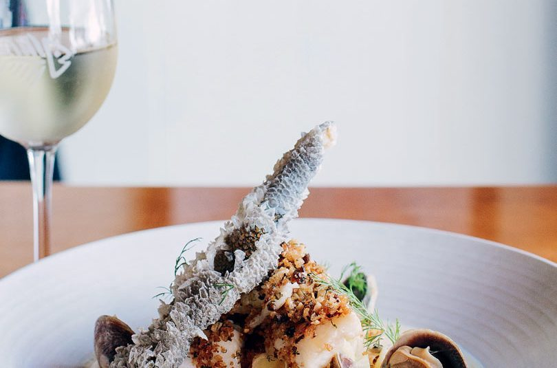 BLUE COD WITH ROASTED BLUE COD CHOWDER, SMOKED OYSTER CRUMBLE & CRISPY SKIN