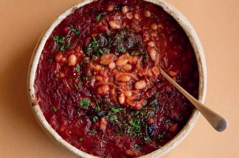 BAKED BEANS WITH BEET LEAVES
