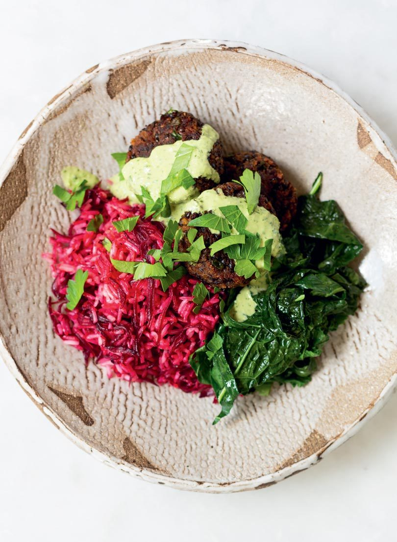 BEETROOT-STAINED RICE BOWL