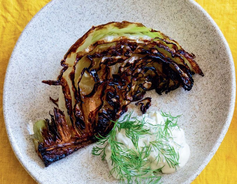 CHARRED CABBAGE WEDGES WITH DILL CRÈME FRAÎCHE