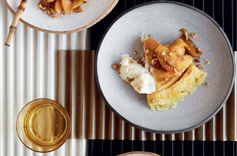 HONEY, PEANUT & COCONUT PANCAKES WITH CARAMELISED APPLES