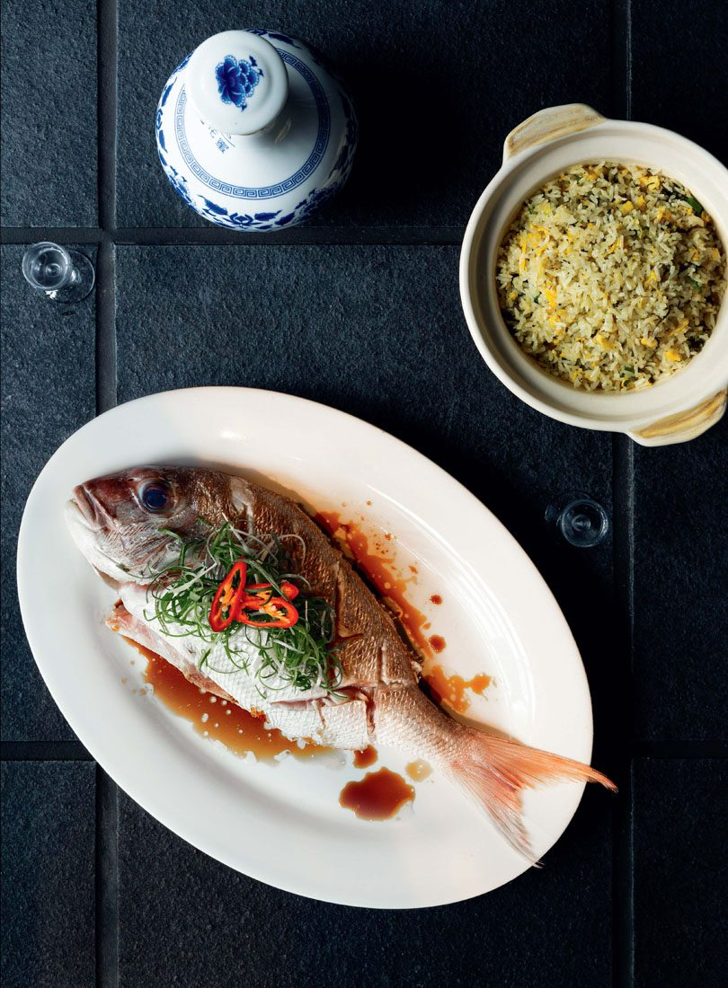 STEAMED FISH WITH SOY SAUCE, GINGER, & SPRING ONION