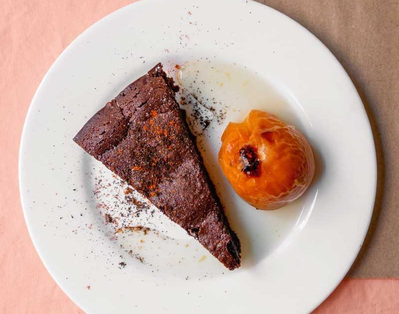 CHOCOLATE CHILLI TORTE WITH COFFEE GROUNDS & WHOLE ROASTED APRICOTS