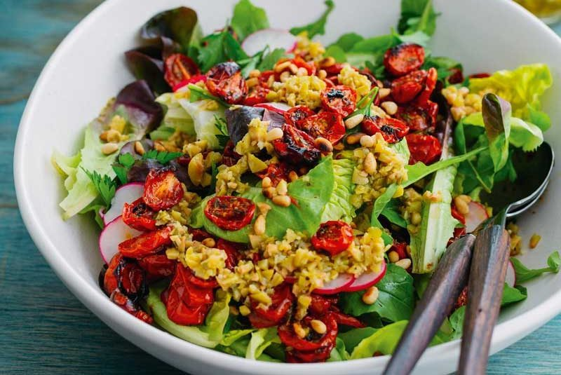 GREEN SALAD WITH THYME- ROASTED CHERRY TOMATOES  & GREEN OLIVE DRESSING