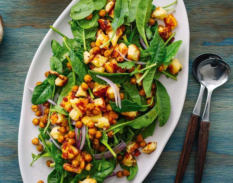 SPINACH, CRISPY CHICKPEA & FRIED PANEER SALAD WITH TOASTED CUMIN & LIME DRESSING