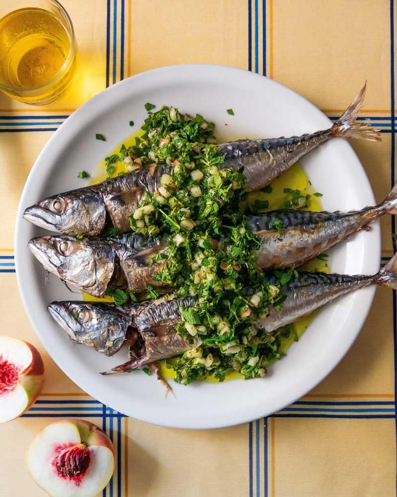 WHOLE FISH WITH WHITE PEACH GREMOLATA