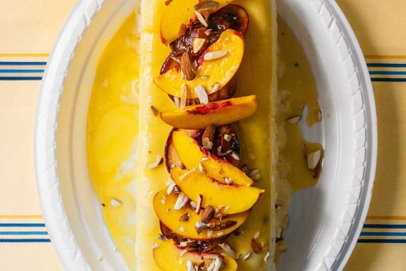 TOASTED ALMOND SEMI-FREDDO WITH NECTARINES