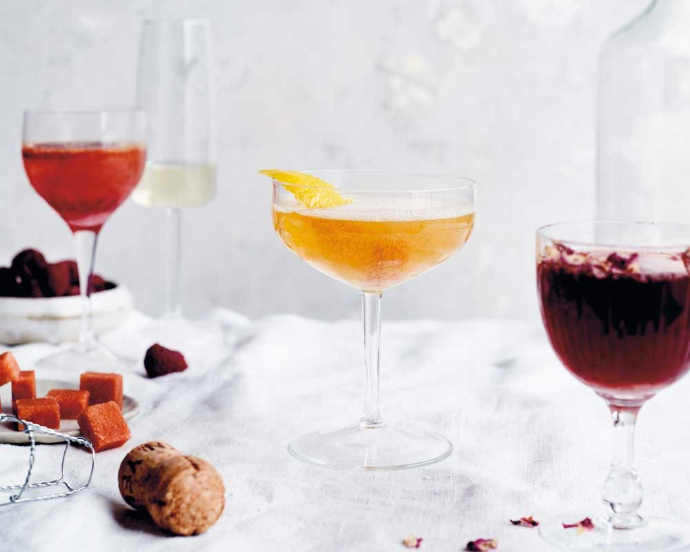 CHAMBORD & ORANGE, CLASSIC, CHAMPAGNE JULEP and ROSEWATER & POMEGRANATE CHAMPAGNE COCKTAILS