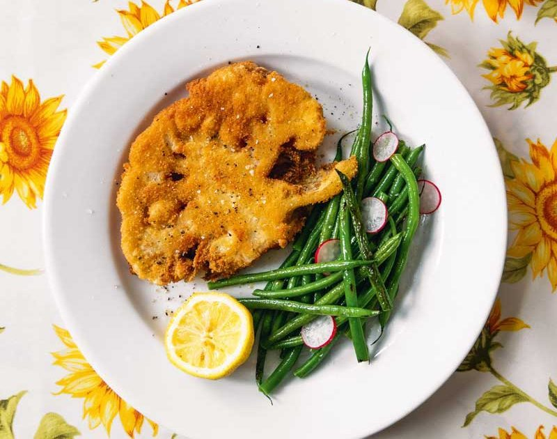 CAULIFLOWER COTOLETTA WITH BLISTERED BEANS