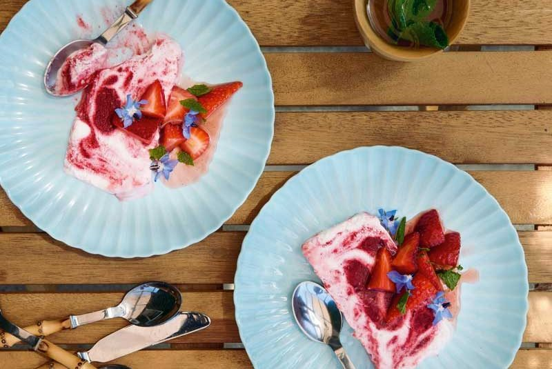 COCONUT RASPBERRY- RIPPLE PARFAIT WITH  MACERATED STRAWBERRIES