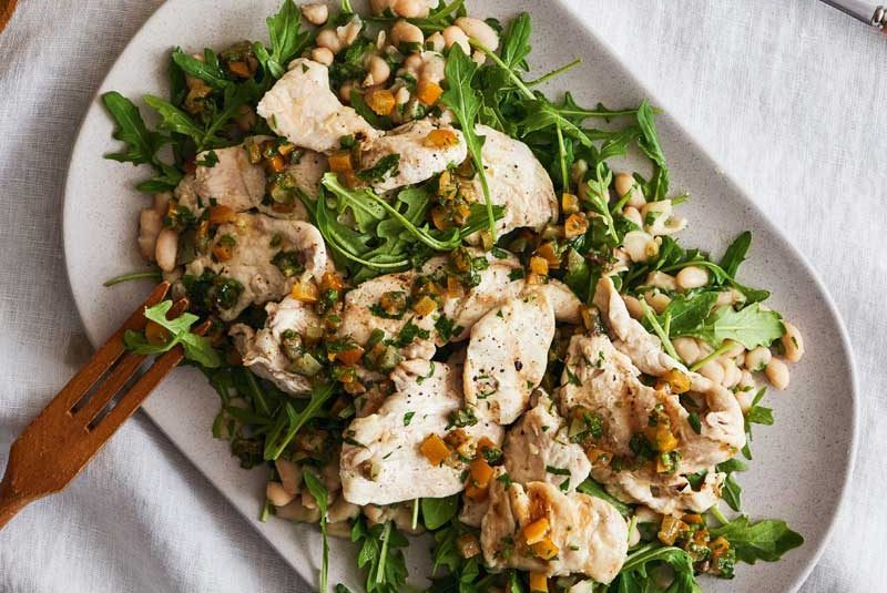 GRILLED CHICKEN SALAD WITH WHITE BEANS & PRESERVED LEMON & ANCHOVY SALSA