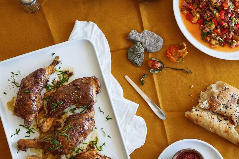 OLIVE, CAPER & ANCHOVY-STUFFED CHICKEN WITH AJVAR