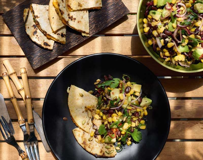 QUESADILLAS WITH CARROT HUMMUS & CHARRED CORN & BLACK BEAN SALAD