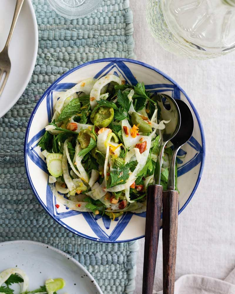 SHAVED FENNEL, TOASTED ALMOND & GREEN OLIVE SALAD WITH CUMIN DRESSING