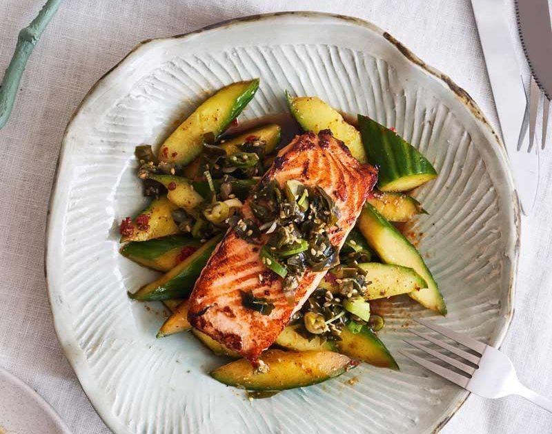 SOY-GLAZED SALMON WITH SPICY SOUR CUCUMBER & SEAWEED SALSA