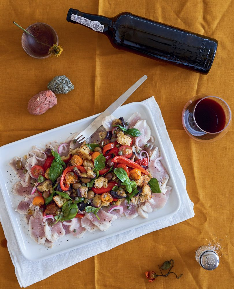 PICKLED FISH WITH BARBECUED EGGPLANT & CAPSICUM PANZANELLA