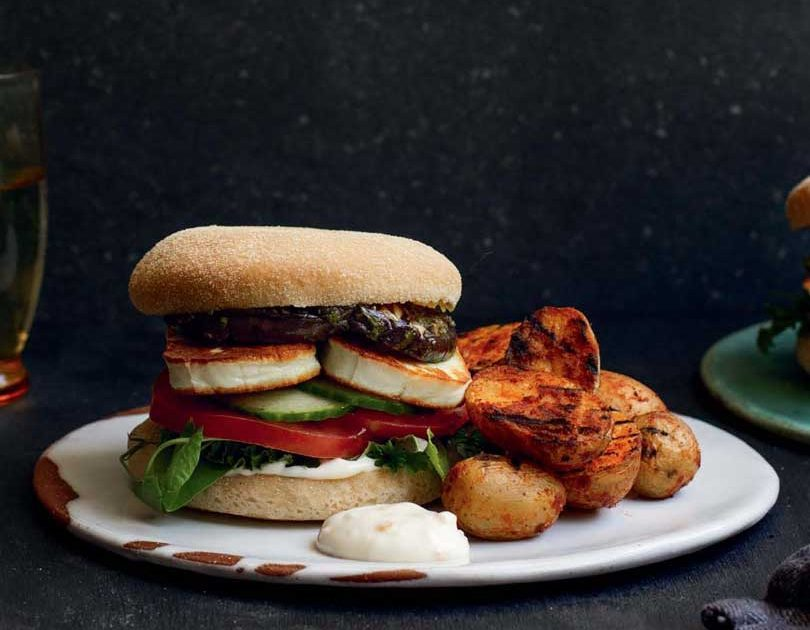 HALOUMI & GRILLED EGGPLANT BURGERS WITH SMOKY POTATOES & PRESERVED LEMON AIOLI