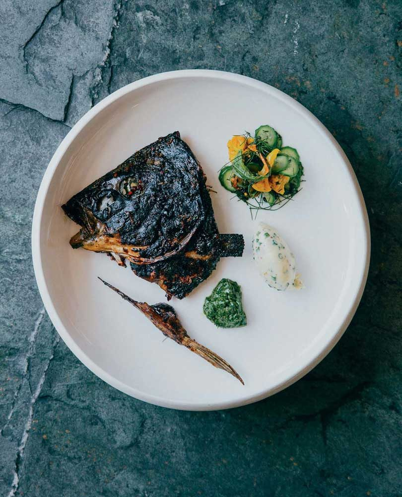 BLACKENED FISH HEADS, GRANNY'S PICKLES, SALSA VERDE & MUSTARD MASCARPONE