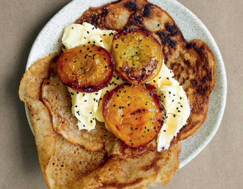 BUCKWHEAT CREPES WITH ROAST PEACHES & MASCARPONE