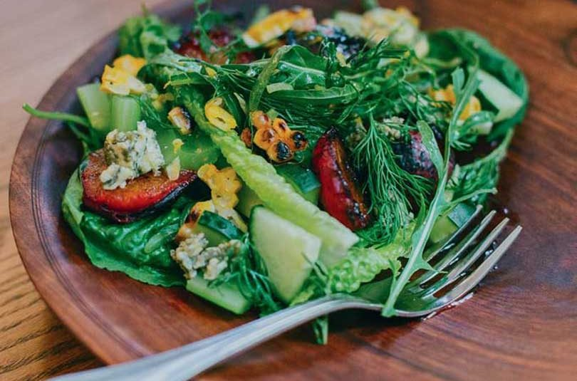 SALAD OF GRILLED PLUMS & BLUE CHEESE WITH CIDER & MUSTARD DRESSING