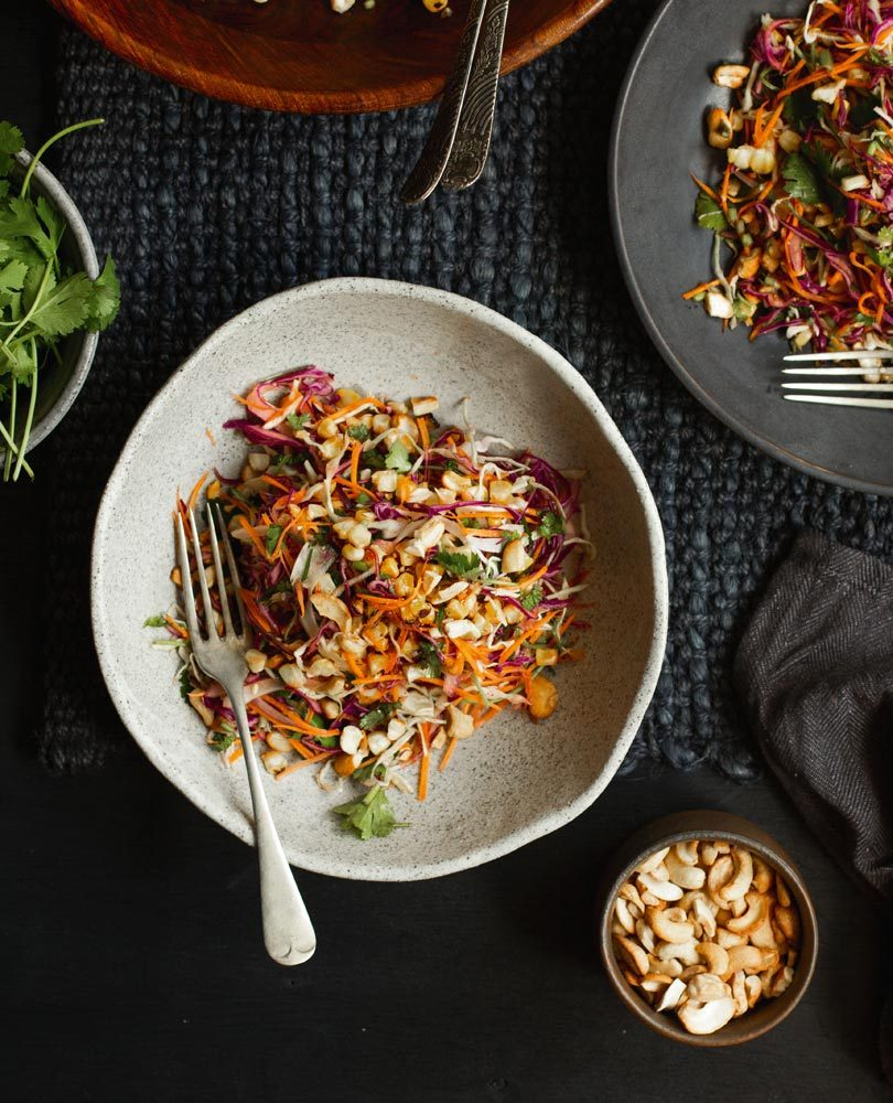 BLACKENED CORN SLAW WITH LIME-LEAF DRESSING