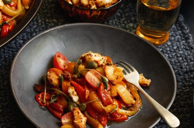 CHARGRILLED MARINATED CAPSICUM WITH CHERRY TOMATOES, CAPERBERRIES & MUSTARD CRUMBS