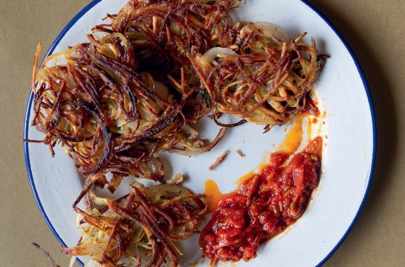 KŪMARA & ONION FRITTERS WITH SPICY TOMATO, GINGER & FENNEL SEED CHUTNEY
