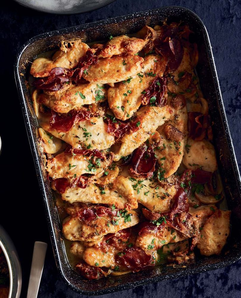 CHICKEN BREAST WITH MUSHROOMS, COPPA & PARMESAN