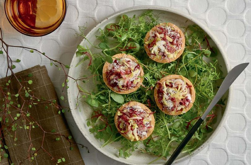 CHICKEN LIVER PARFAIT TARTS WITH WALNUT CREAM, WITLOOF & PECORINO