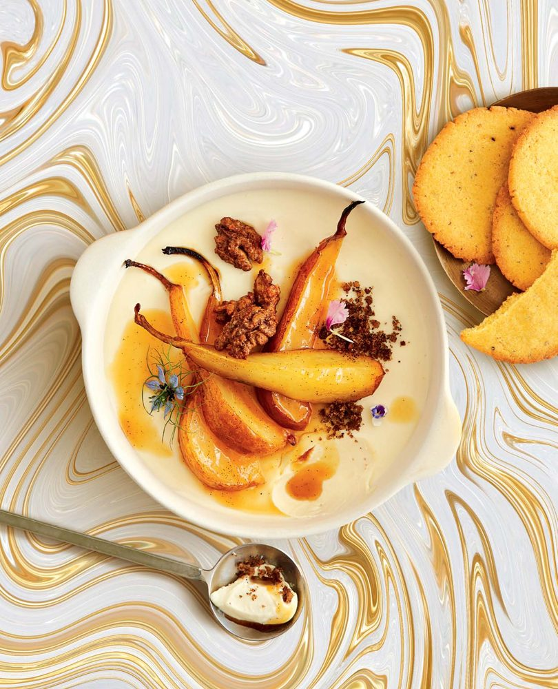 HONEY-ROASTED PEARS WITH POLENTA & CARDAMOM BISCUITS