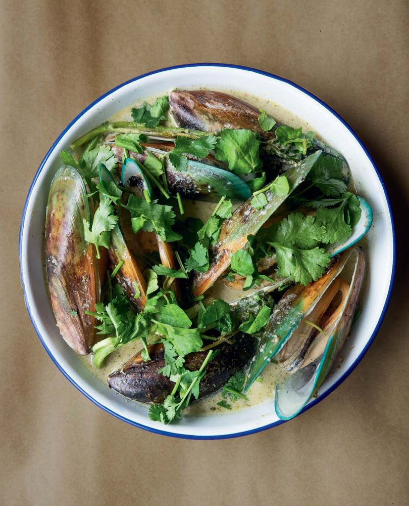 MUSSELS WITH FERMENTED GREEN CHILLI & COCONUT BROTH