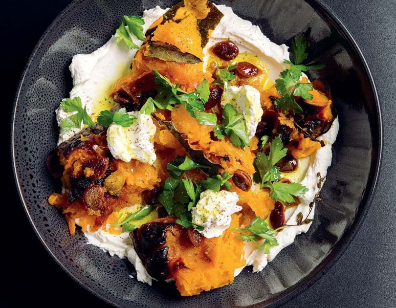 HONEY & THYME ROAST PUMPKIN WITH GARLIC LABNEH & CURRIED PUMPKIN SEEDS