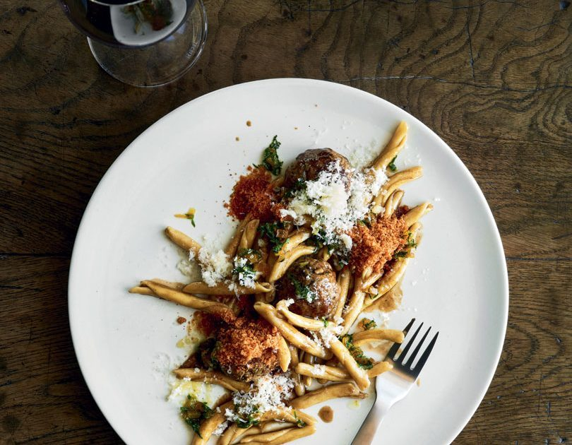 LAMB MEATBALLS & FRICELLI PASTA WITH DRIED-APRICOT GREMOLATA