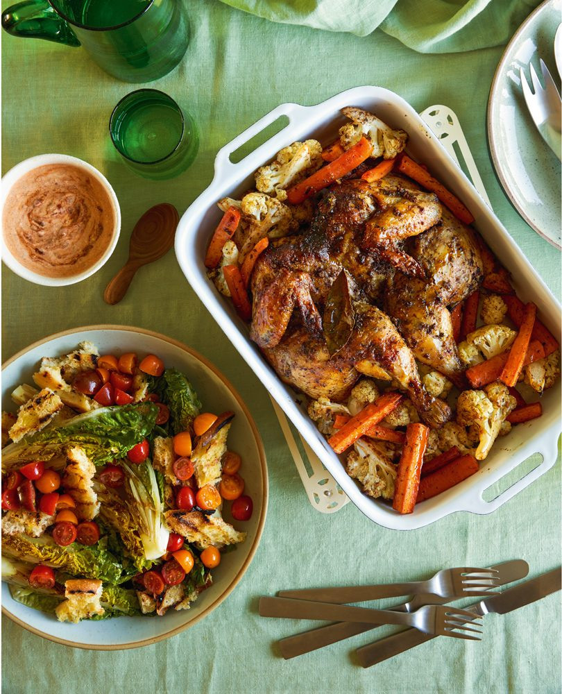 TURKISH ROAST CHICKEN WITH GRILLED COS & BREAD SALAD