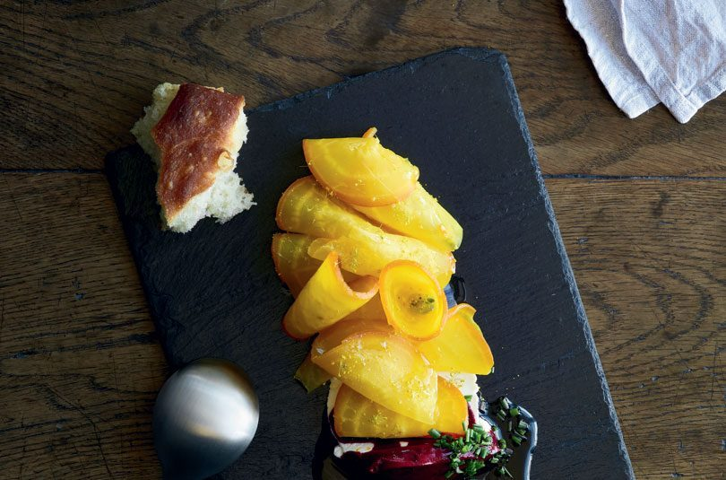 SALT-BAKED GOLDEN BEETROOT WITH MASSIMO'S RICOTTA & BEETROOT OIL
