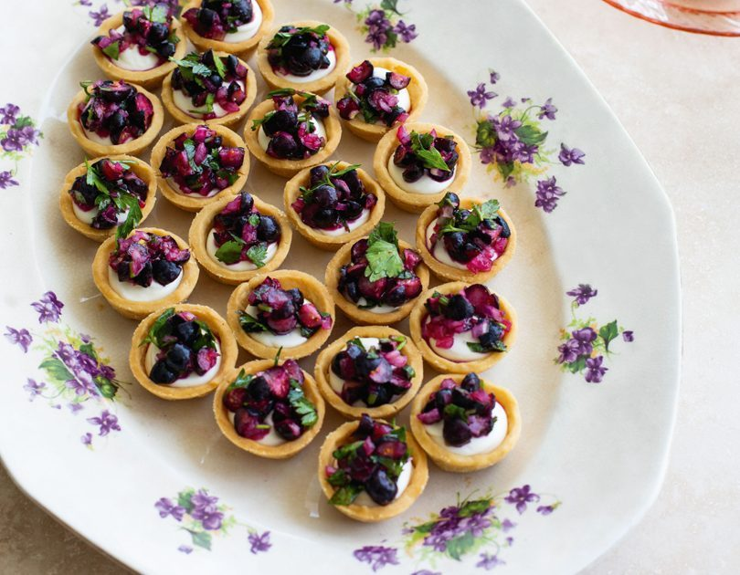 MINI GOAT'S CHEESE TARTS WITH BLUEBERRY SALSA