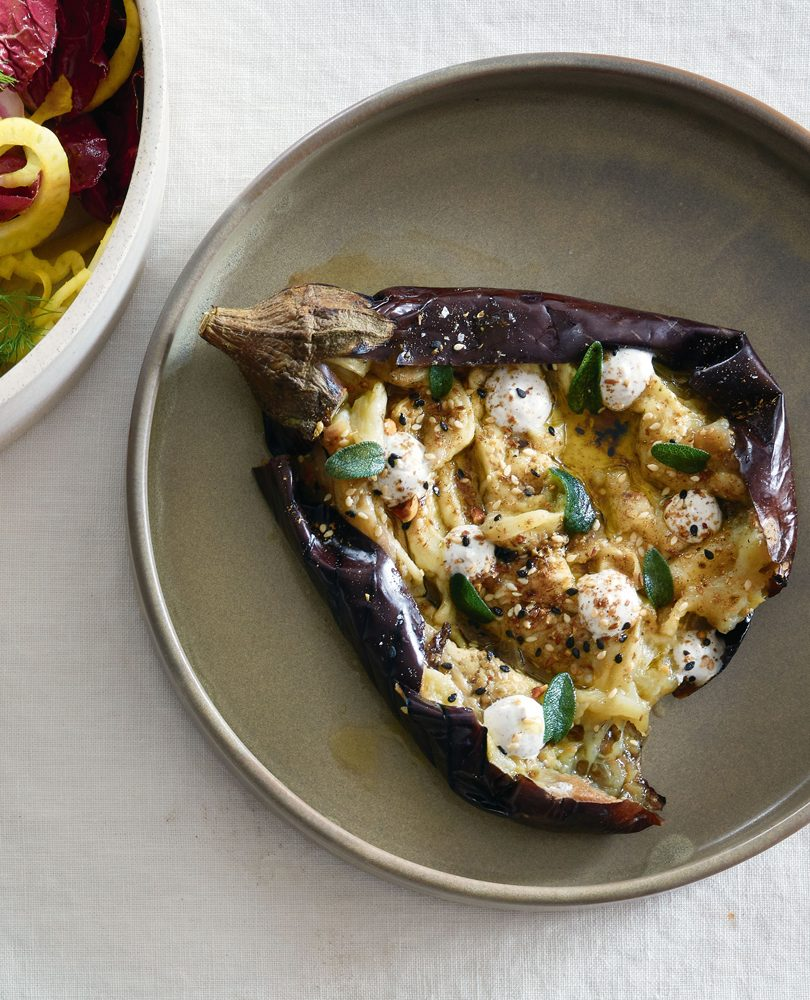 WHOLE BAKED EGGPLANT WITH TOASTED SPICE & BUTTERMILK CURD