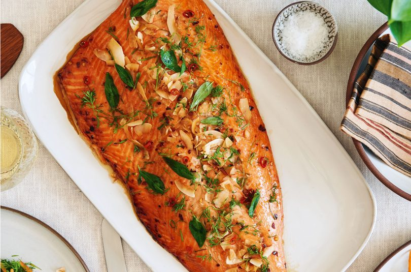 BAKED SIDE OF SALMON WITH CARAMELISED NUOC CHAM SAUCE