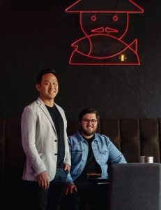Mr Hao's owner Paul Wong and Julian Diprose