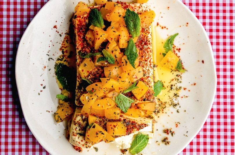 BAKED FETA WITH HONEY, DRIED MINT & PICKLED FRESH APRICOTS