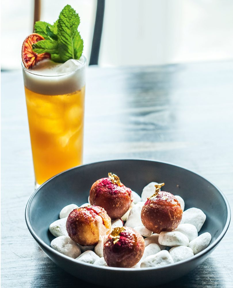 GOAT'S CHEESE DOUGHNUTS WITH RAW HONEY