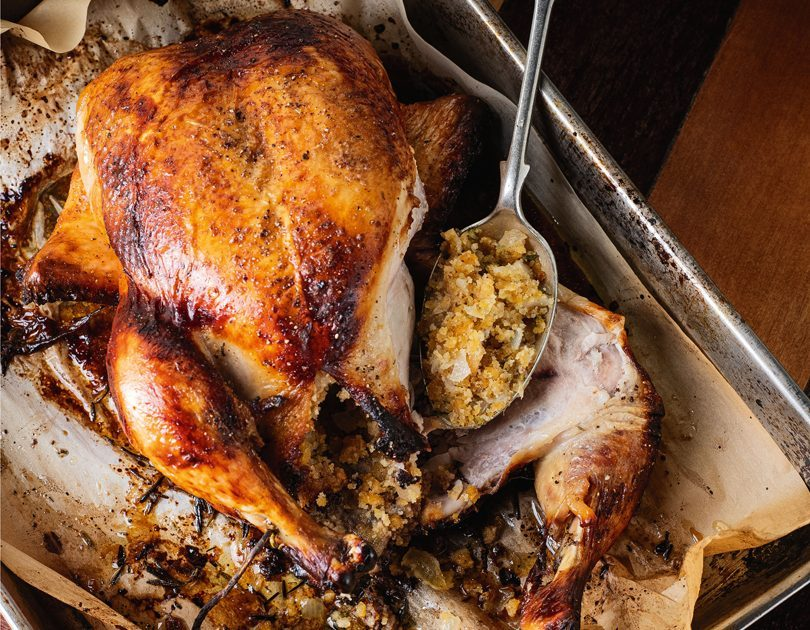ROAST CHOOK WITH SAGE  & ONION STUFFING & SPICED BUTTER
